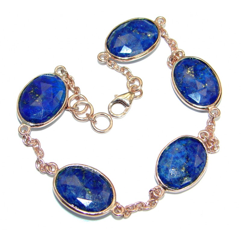 Flawless Passion Lapis Lazuli Rose Gold plated over .925 Sterling Silver Bracelet