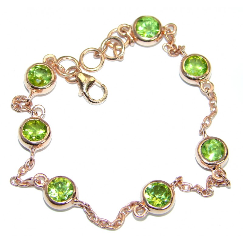 Stunning genuine Peridot Rose Gold over .925 Sterling Silver handmade Bracelet