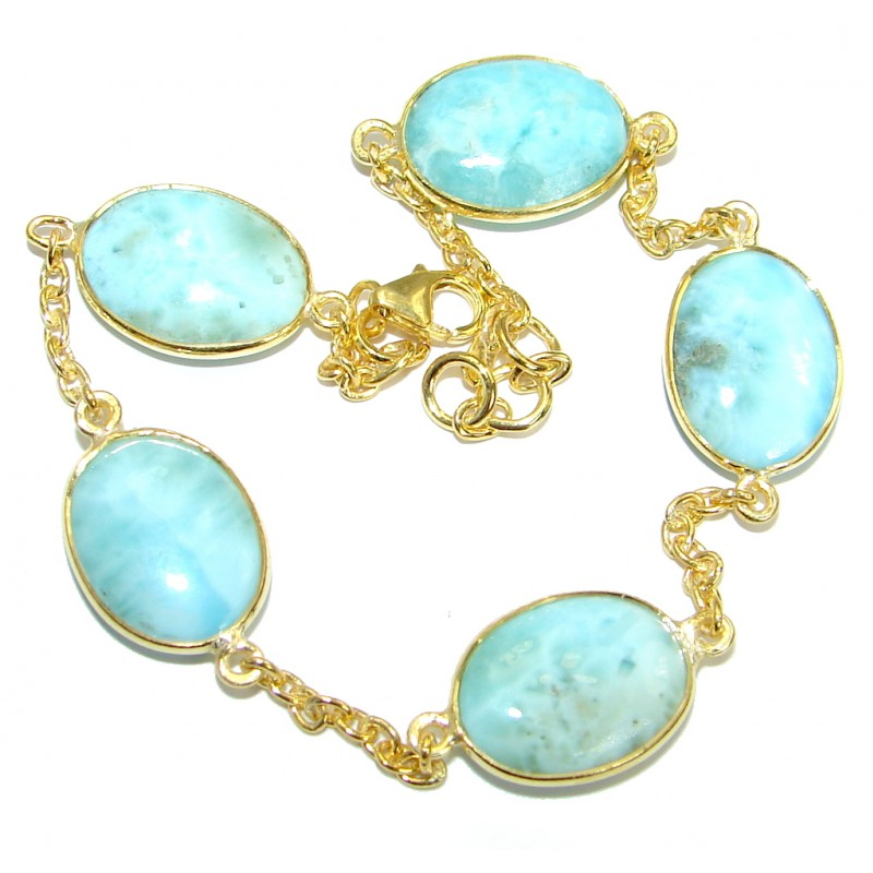 Flawless Passion Larimar Gold over .925 Sterling Silver handmade Bracelet