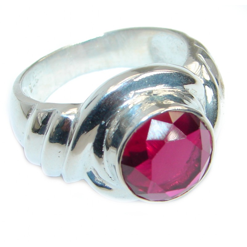 Red Quartz Silver Tone handmade Cocktail ring size 11 3/4