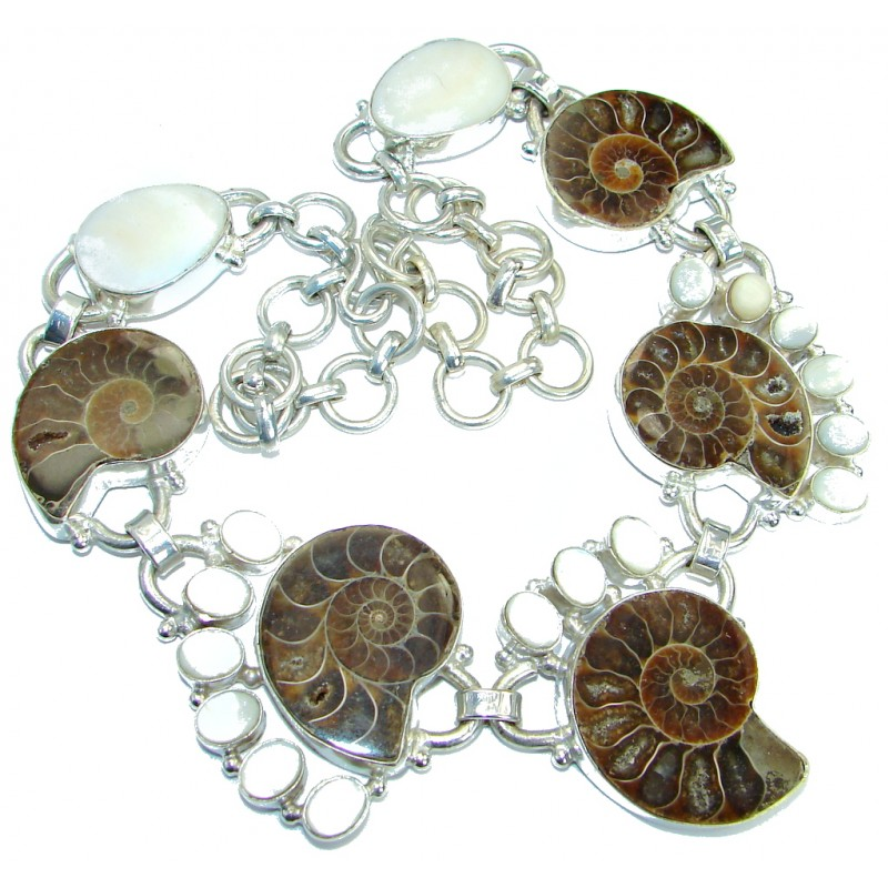122.5g Aura Of Beauty genuine Ammonite Silver Tone handcrafted Necklace