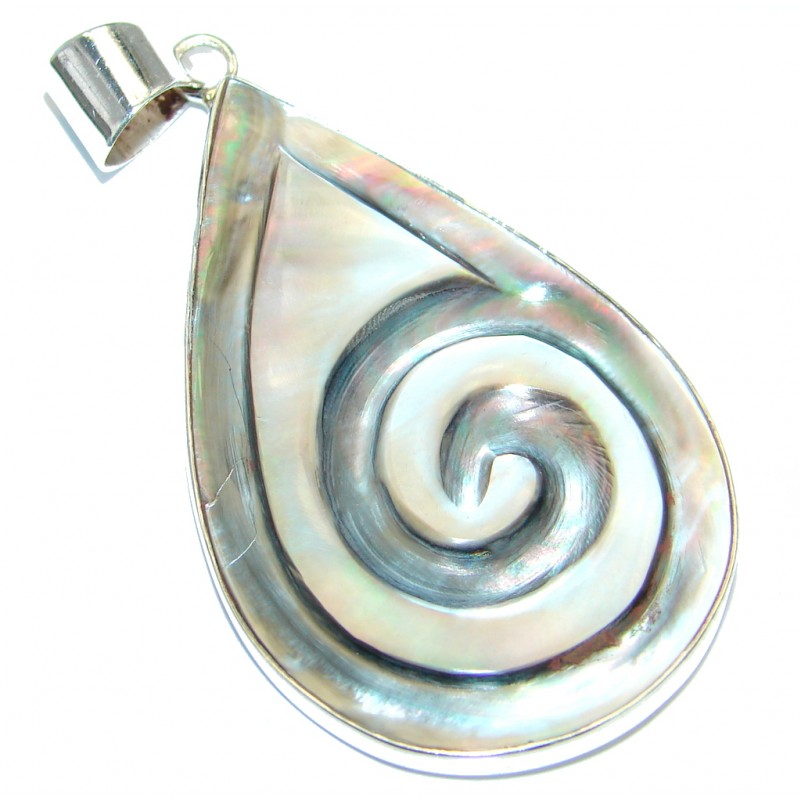 Simple Design Genuine Shell .925 Sterling Silver handmade Pendant