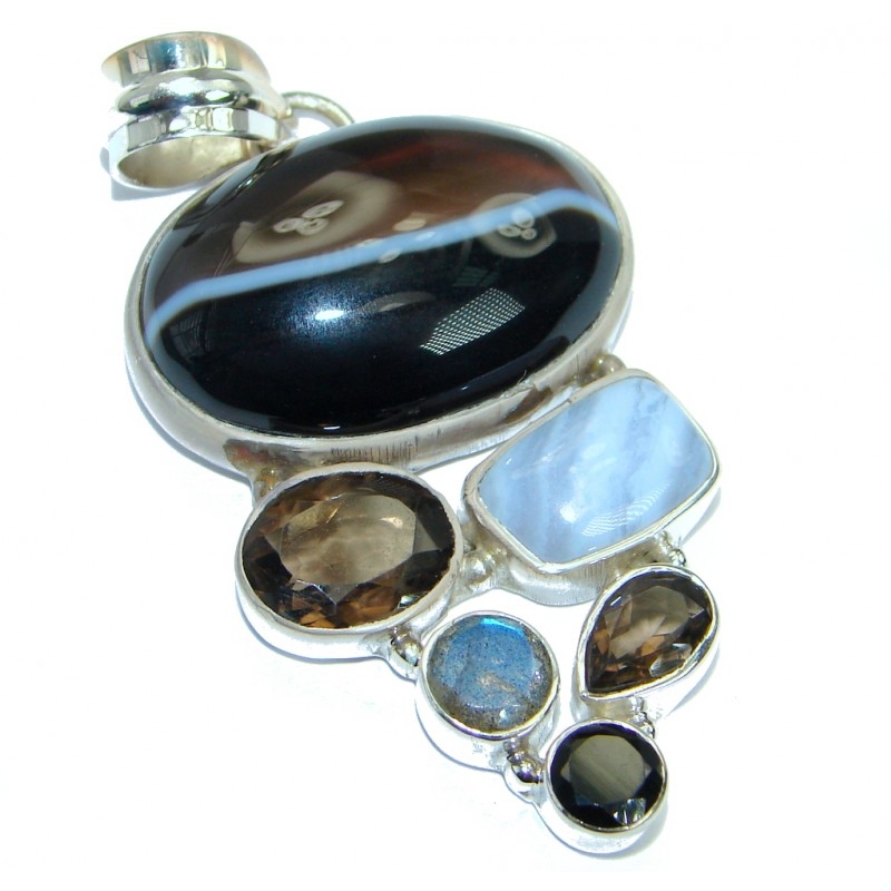 Natural Lace Agate oxidized .925 Sterling Silver handmade Pendant