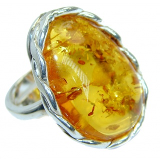 Genuine Baltic Polish Amber Sterling Silver handmade Statment Ring size 7