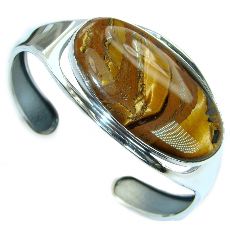 Simply Gorgeous Golden Tigers Eye .925 Sterling Silver Bracelet / Cuff