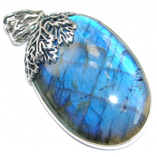 Highest quality genuine Blue Labradorite .925 Sterling Silver handmade Pendant