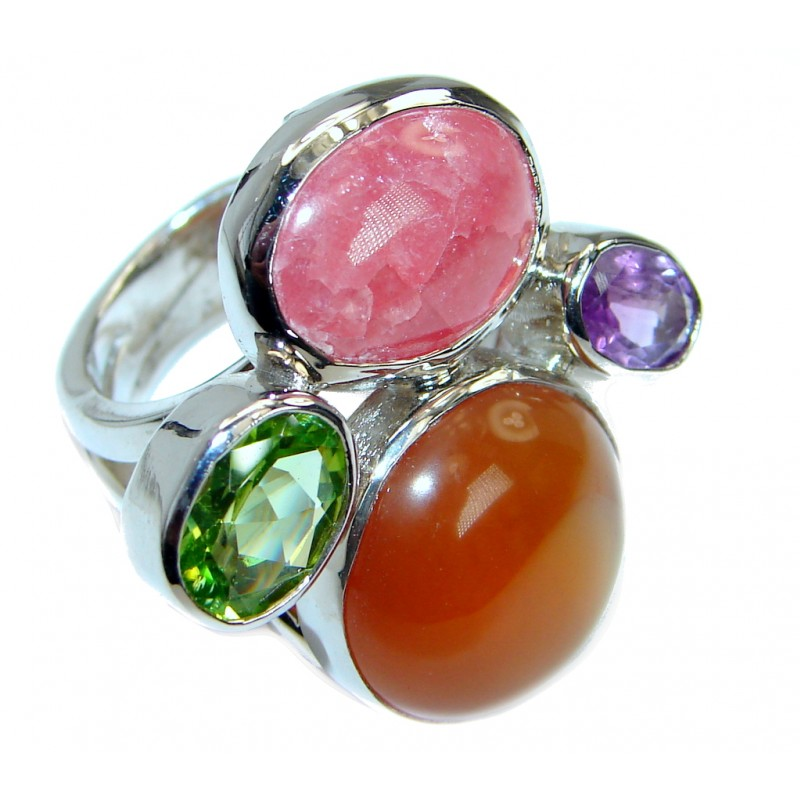Amazing Modern Design Genuine Carnelian .925 Sterling Silver Ring 6