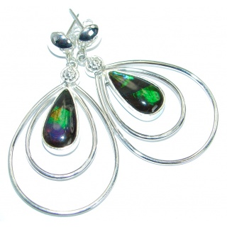 Green Aura genuine Canadian Fire Ammolite .925 Sterling Silver handmade earrings