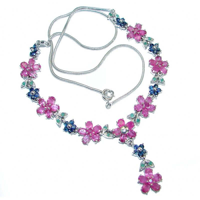 Fantastic quality Ruby Emerald Sapphire .925 Sterling Silver handmade Necklace