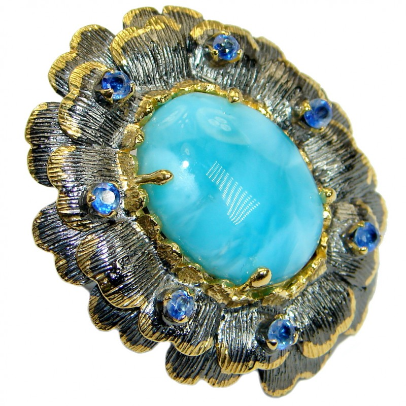 Large Floral Design genuine Larimar Kyanite Gold plated over .925 Sterling Silver Ring s. 8 adjustable