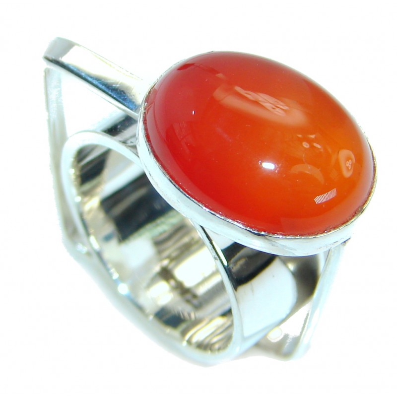 Amazing Genuine Carnelian Sterling Silver Ring Size 6