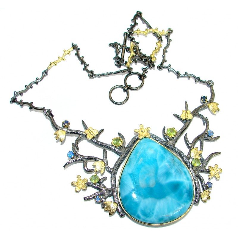 Nature inspired Sublime Larimar Sapphire Gold plated over .925 Sterling Silver handmade necklace