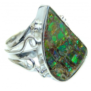 Dragon's Skin Rainbow Fire Ammolite .925 Sterling Silver ring s. 10