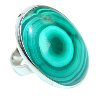 Natural AAA quality Malachite Sterling Silver handcrafted ring size 6 3/4