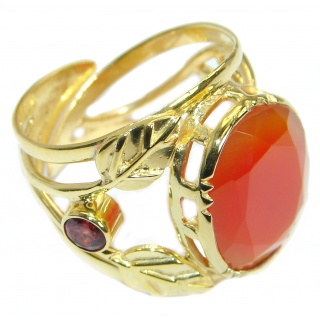 Genuine Orange Carnelian Gold Rhodium plated over Sterling Silver ring s. 8