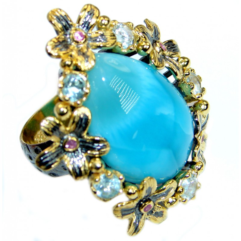 Large Floral Design genuine Larimar Gold plated over .925 Sterling Silver Ring s. 7 adjustable