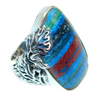 Blue Rainbow Calsilica Sterling Silver handcrafted ring size 7 adjustable