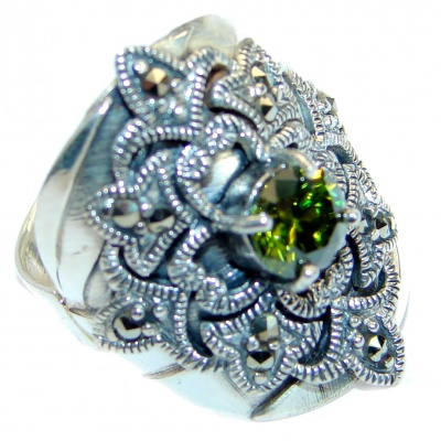 Ultra Fancy Cubic Zirconia Marcasite .925 Sterling Silver Cocktail ring s. 6