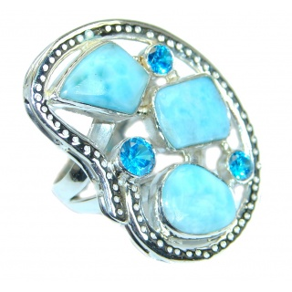 Genuine Larimar .925 Sterling Silver handcrafted Ring s. 8 1/4