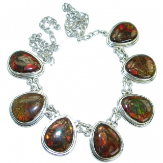 One of the kind Natural Canadian Ammolite .925 Sterling Silver handmade necklace