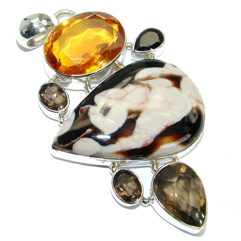 Authentic Nugget Jasper .925 Sterling Silver handmade Pendant