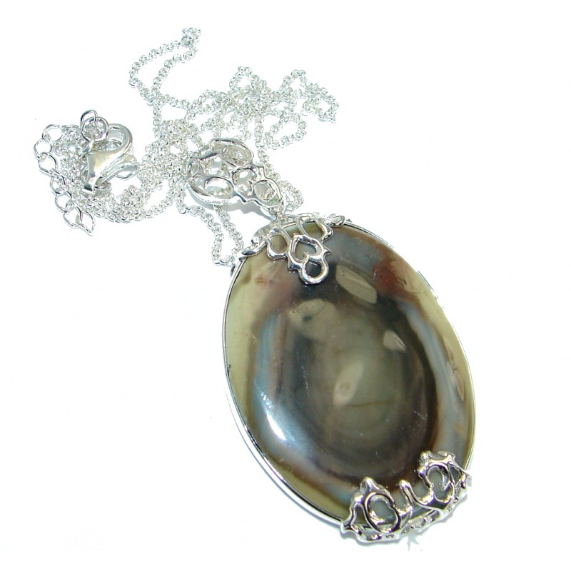 One of the kind Design AAA + Imperial Jasper Sterling Silver handmade necklace