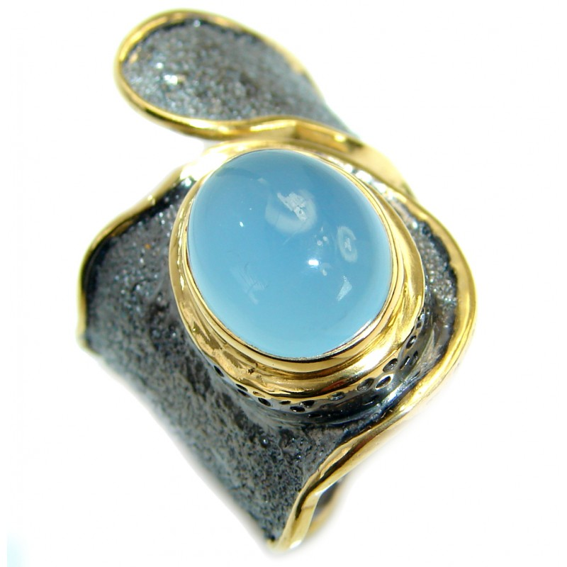 Genuine Chalcedony Agate Gold Rhodium plated over Sterling Silver ring s. 7 adjustable