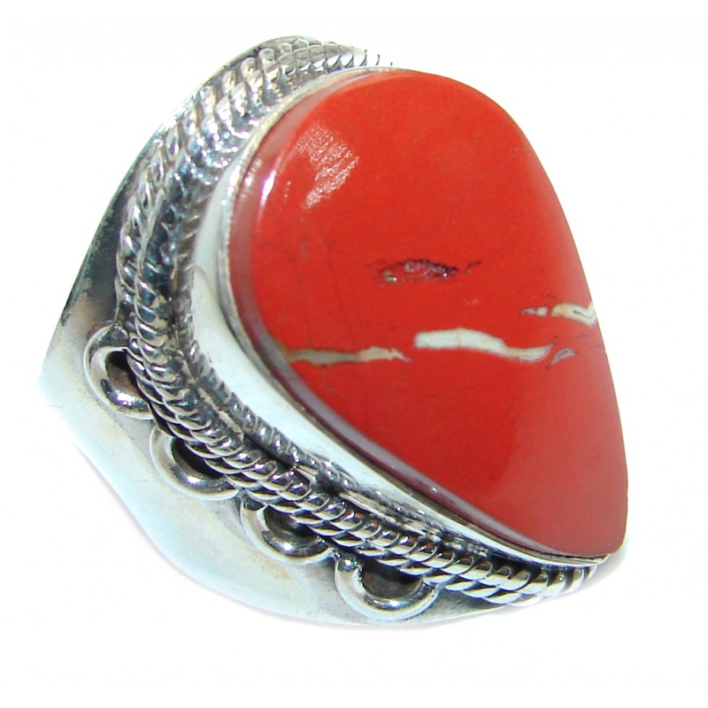 Perfect Red Jasper Sterling Silver handmade Ring s. 7