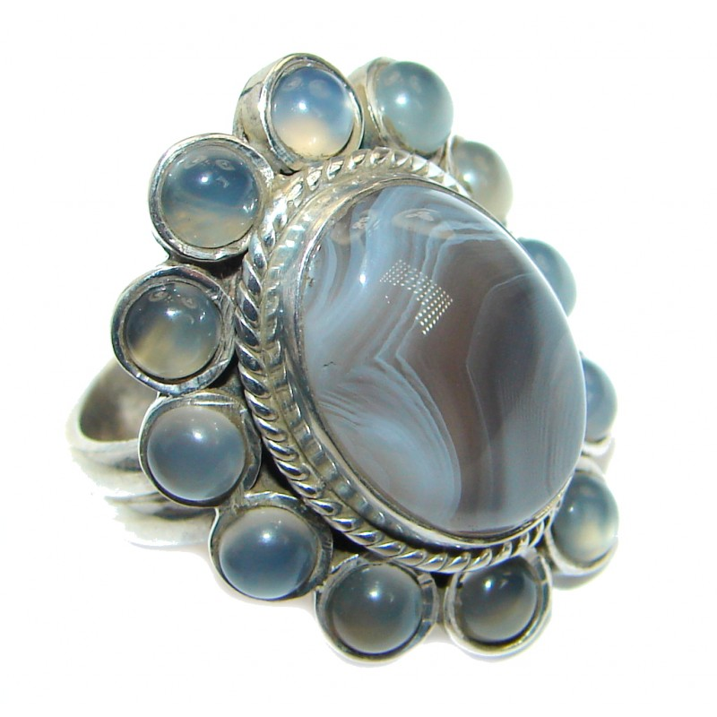 Perfect Botswana Agate Sterling Silver handmade Ring s. 6 1/4