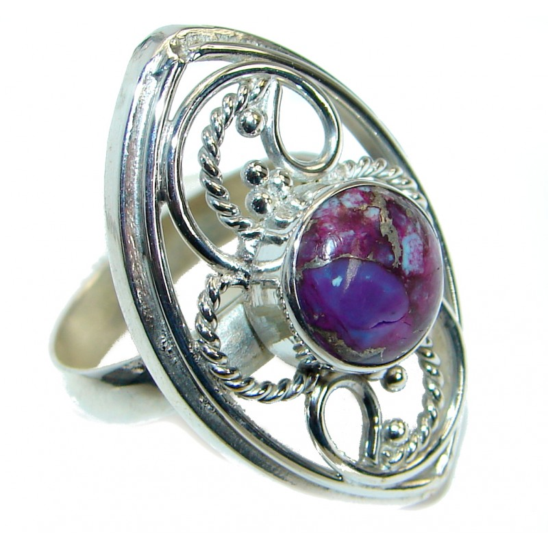 Beautiful Purple Turquoise .925 Sterling Silver handmade Ring size 9 1/4