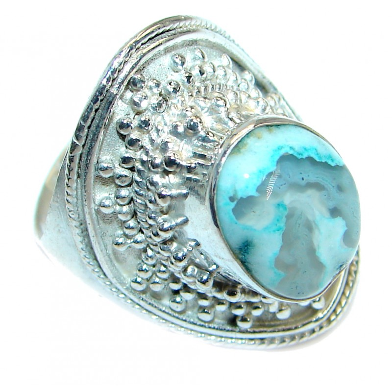 Gorgeous natural Moss Agate Sterling Silver handmade ring s. 9 1/2