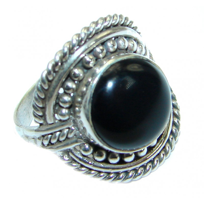 Authentic Onyx .925 Sterling Silver handmade Ring s. 7 1/4