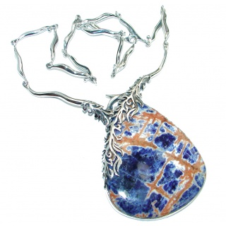 Incredible Fabulous genuine Sodalite .925 Sterling Silver handmade necklace