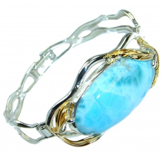 Large Genuine Blue Larimar Two Tones .925 Sterling Silver handmade Bracelet Cuff