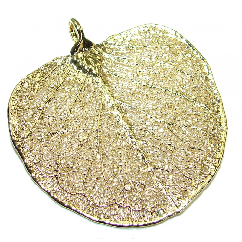 Stylish Deeped In Copper Real Leaf .925 Sterling Silver Pendant