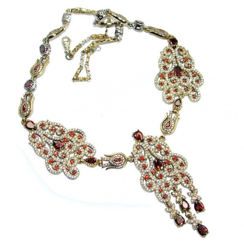 Huge Victorian created Ruby White Topaz & White Topaz .925 Sterling Silver necklace