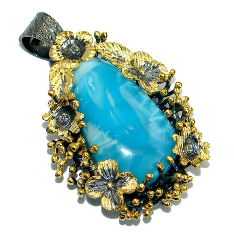 Floral Design Sublime Larimar 18ct Gold over .925 Sterling Silver handmade pendant