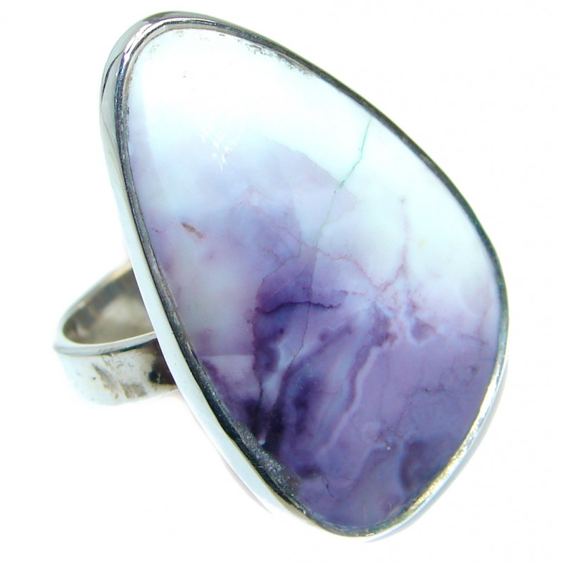 Genuine Purple Tiffany Jasper .925 Sterling Silver ring size 8 3/4