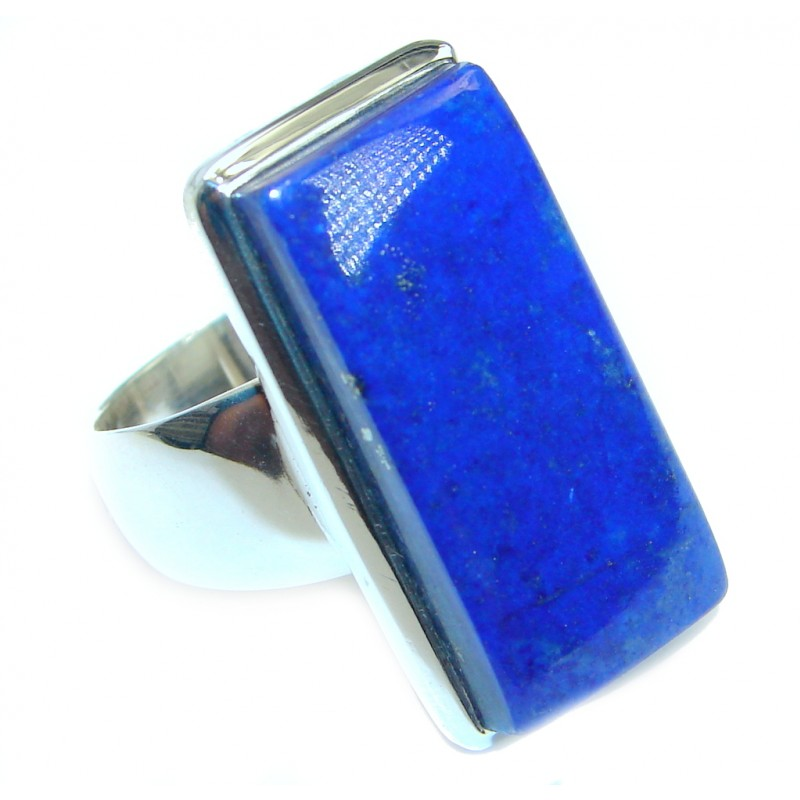 Genuine Lapis Lazuli .925 Sterling Silver handmade Ring size 7