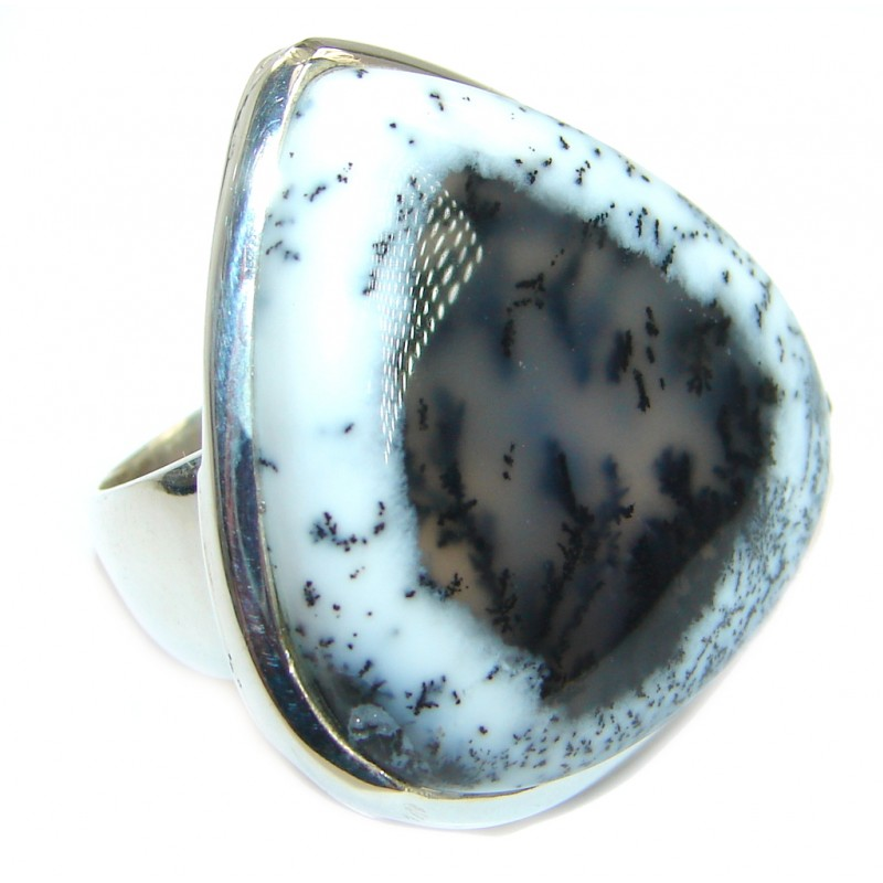 Great Dendritic Agate .925 Sterling Silver hancrafted Ring s. 7