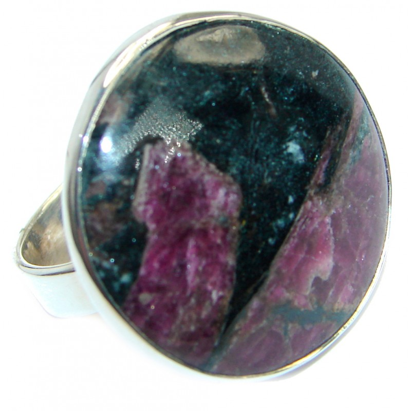Natural Russian Eudialyte .925 Sterling Silver Ring s. 10
