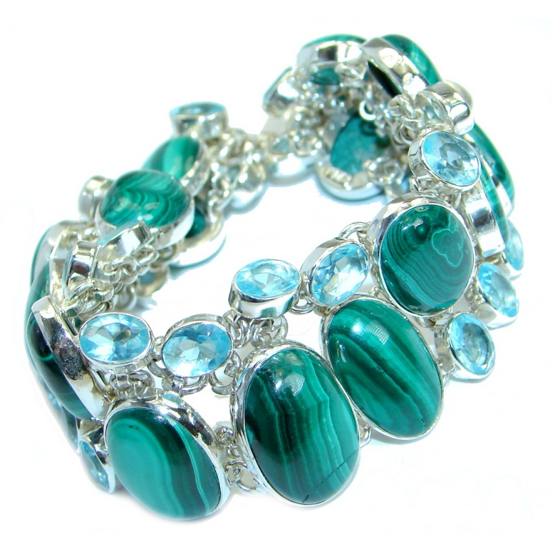 Jumbo Sublime Natural Malachite .925 Sterling Silver handcrafted Bracelet