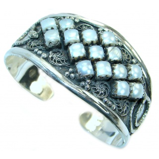 Big Dreamer Mother Of Pearl .925 Sterling Silver Bracelet / Cuff