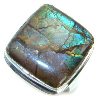 Unisex Rainbow Fire Ammolite .925 Sterling Silver ring s. 8 adjustable