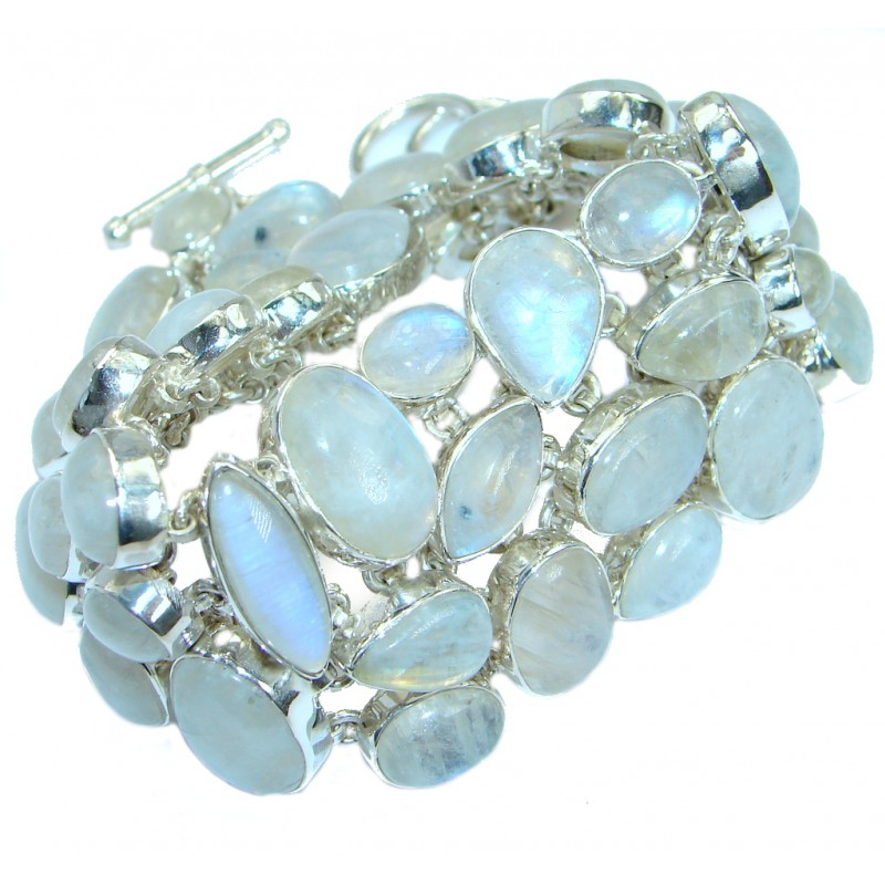 Jumbo genuine Blue Fire Moonstone .925 Sterling Silver handmade Bracelet