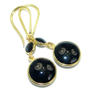 One in the world Onyx Gold over .925 Sterling Silver handmade earrings