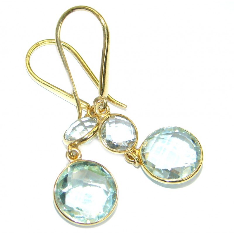 Perfect Green Amethyst Gold over .925 Sterling Silver handmade earrings