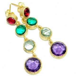 Impressive simulated Multigem Gold plated over .925 Sterling Silver handmade earrings