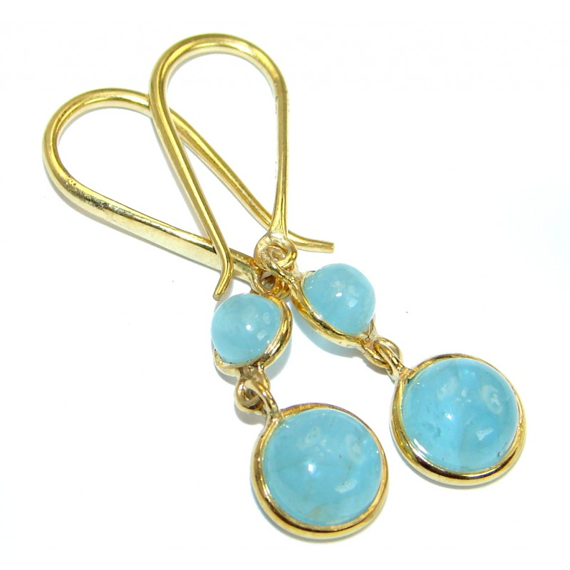 Sublime Aquamarine Gold over .925 Sterling Silver handmade earrings