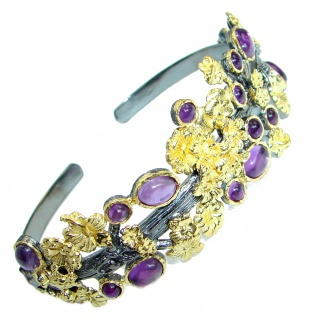 Real Treasure Genuine Amethyst Gold plated over .925 Sterling Silver Bracelet / Cuff
